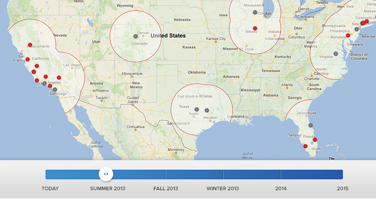 Gray dots indicate Summer Supercharger station openings
