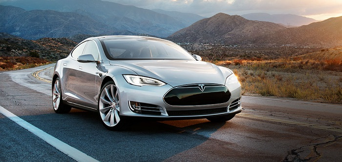 model s on the road
