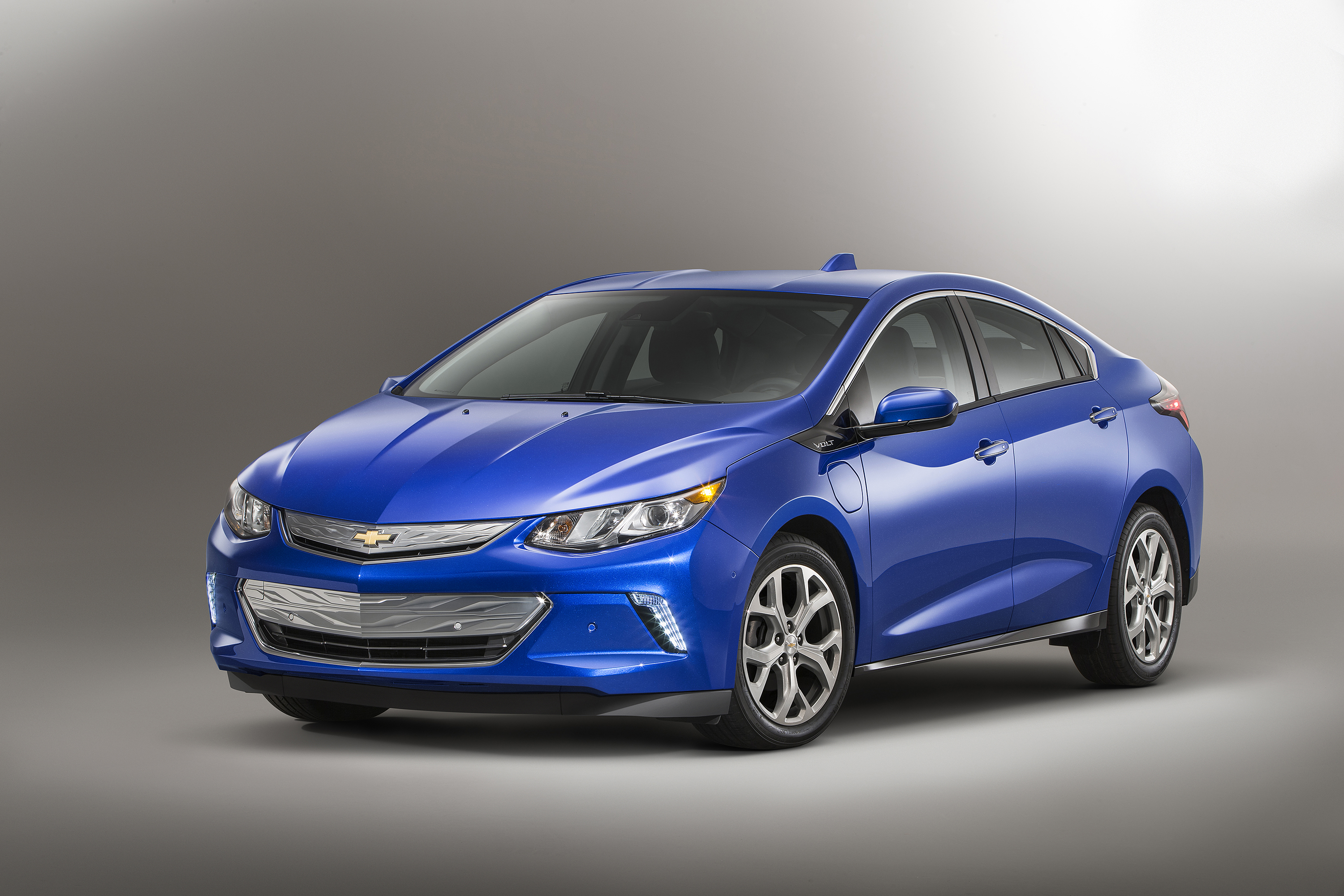 The all-new 2016 Chevrolet Volt electric car with extended range, showcasing a sleeker, sportier design that offers 50 miles of EV range, greater efficiency and stronger acceleration.