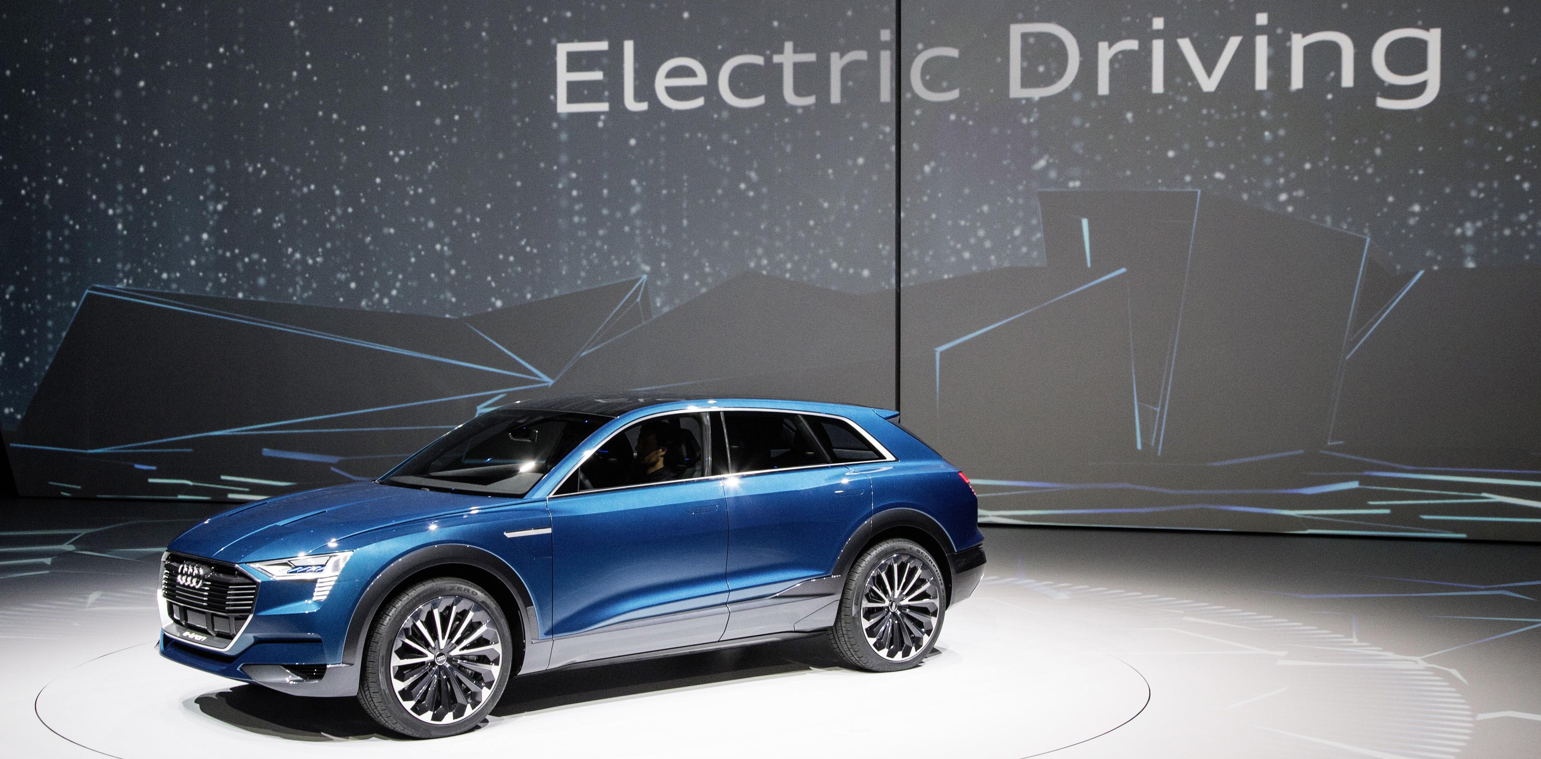 The concept car Audi e-tron quattro at the Volkswagen Group Night (IAA) in Frankfurt.