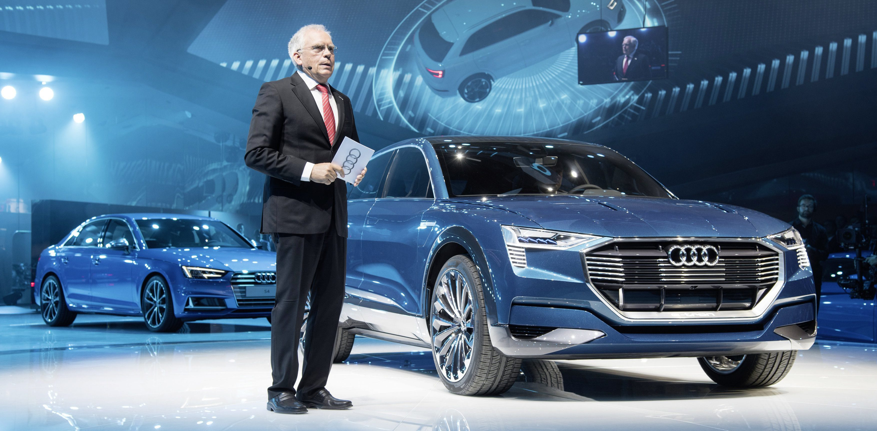 Prof. Dr. Ulrich Hackenberg, Member of the Board of Management of AUDI AG for Technical Development, beside the concept car Audi e-tron quattro at the International Auto Show 2015 in Frankfurt/Main.