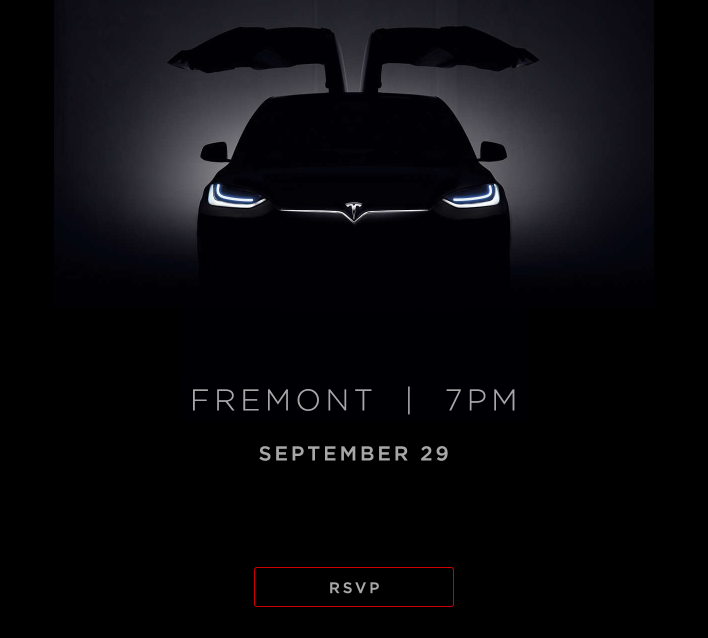 Tesla Sends Out Invites To Its Sept 29th Model X Launch Event A