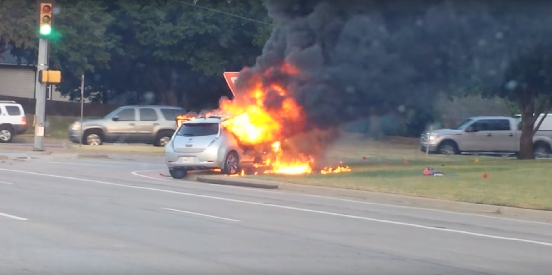 A Nissan LEAF caught fire in North Texas - cause currently