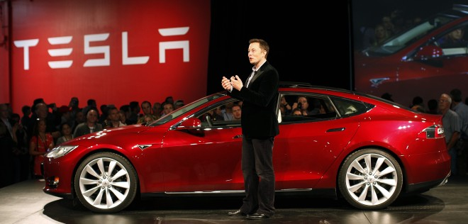 Musk with the Tesla Model S in Fremont on Oct. 1, 2011.