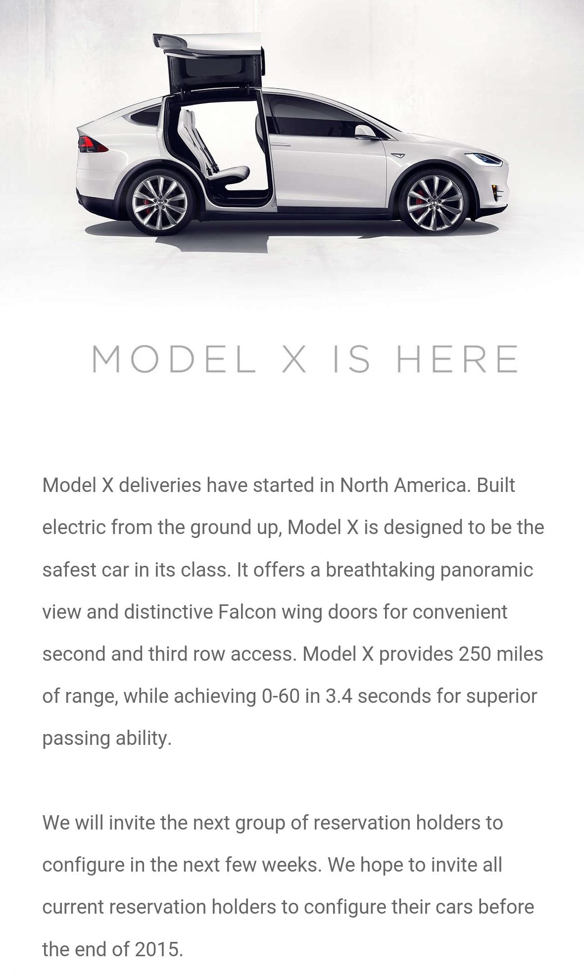 Model X Tesla email