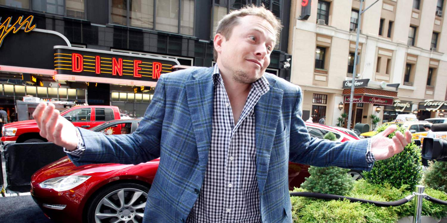 Elon Musk, CEO of Tesla Motors, reacts to a reporter's question following the electric automaker's initial public offering on Nasdaq, Tuesday, June, 29, 2010 in New York. (AP Photo/Mark Lennihan)