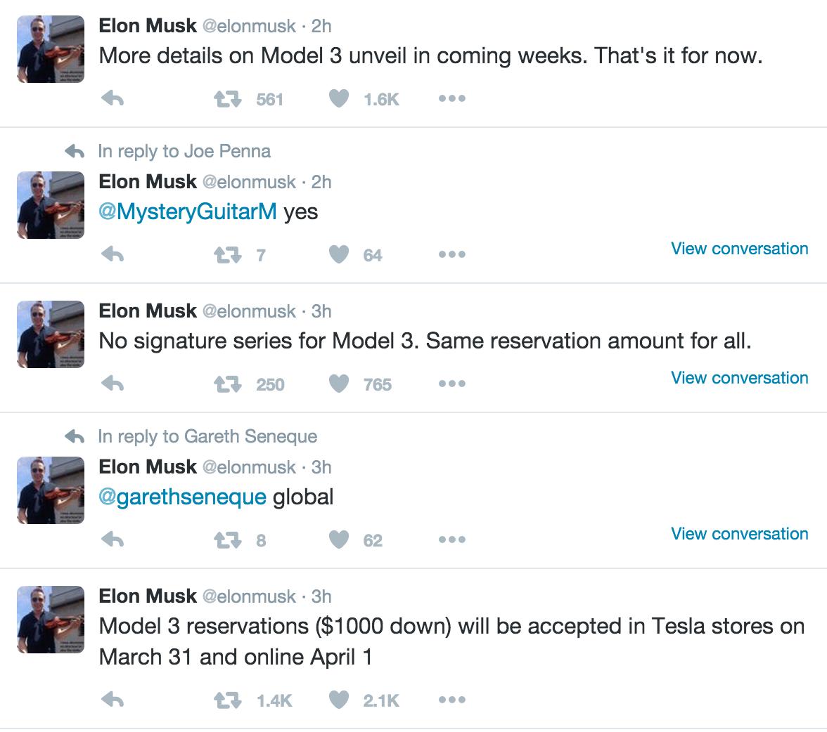 Elon Musk-twitter-model-3-launch