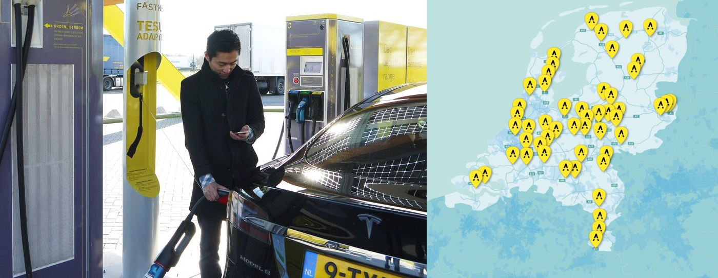 fastned tesla map chademo