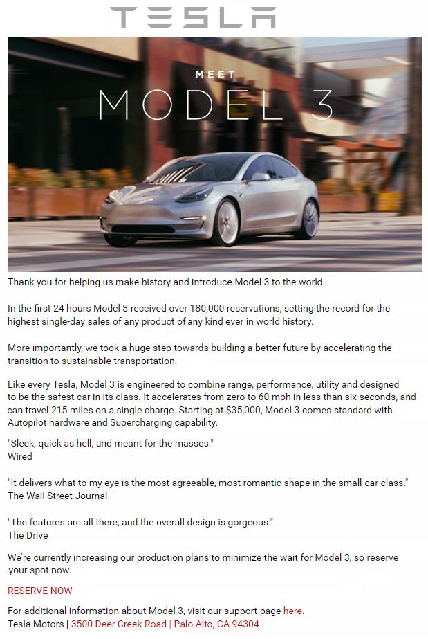 model 3 email blast