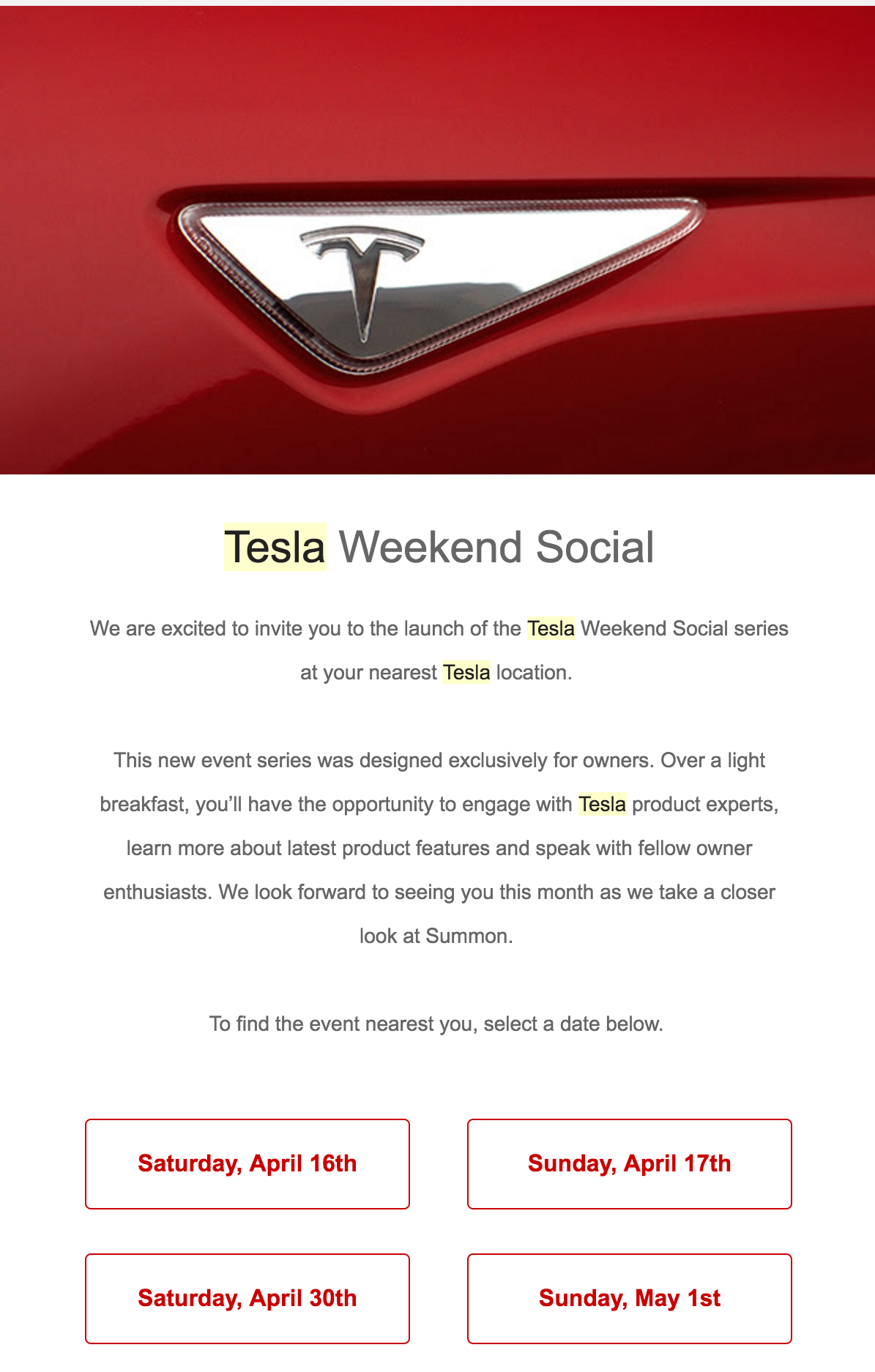 tesla weekend social