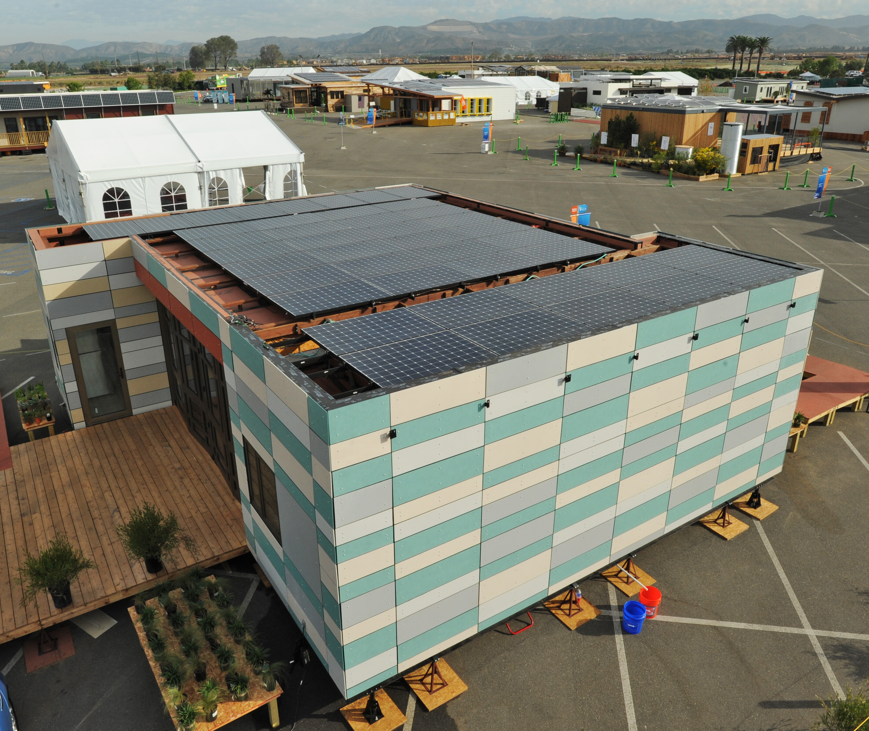 PV arrays for Crowder College and Drury University at the U.S. Department of Energy Solar Decathlon 2015 at the Orange County Great Park, Irvine, California (Credit: Thomas Kelsey/U.S. Department of Energy Solar Decathlon)
