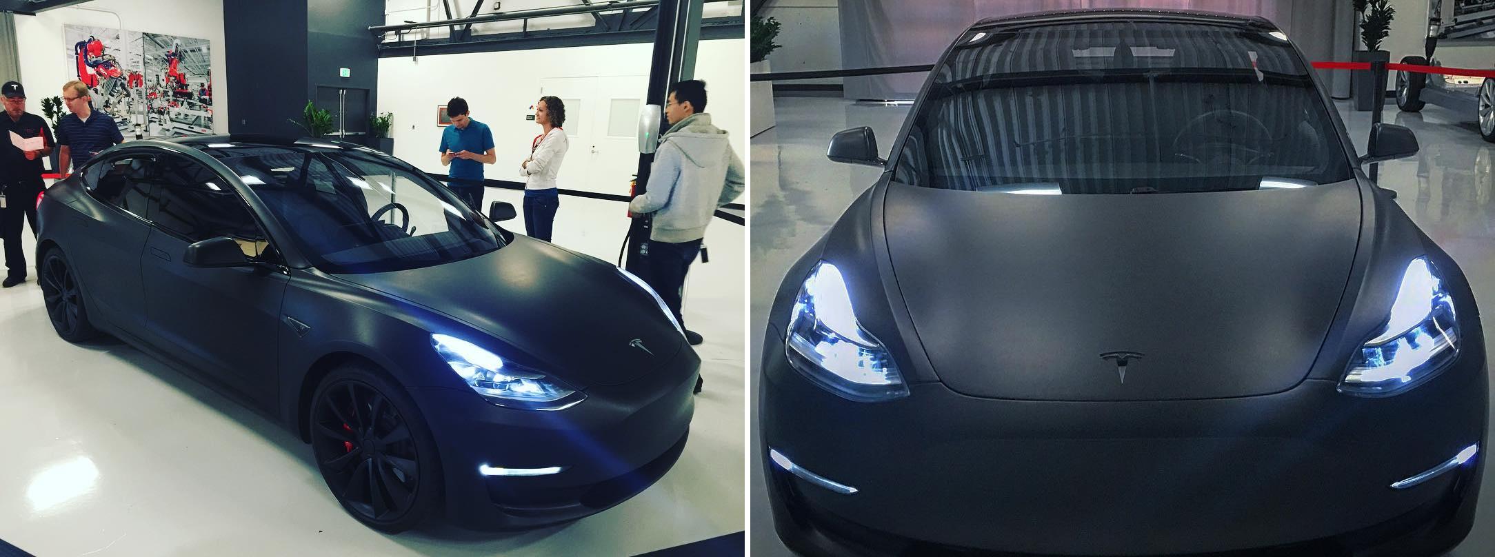 Tesla Model 3 displayed at Tesla HQ