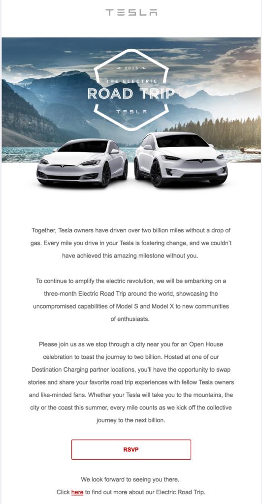tesla road trip email