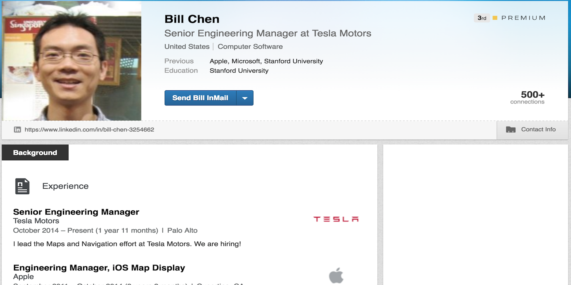 Bill Chen-Tesla-apple-maps