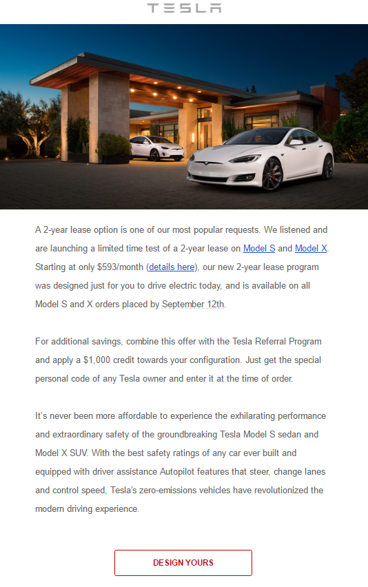 tesla 2 year lease email