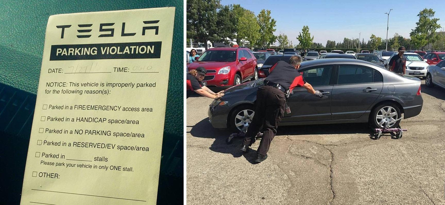 tesla fremont parking problem
