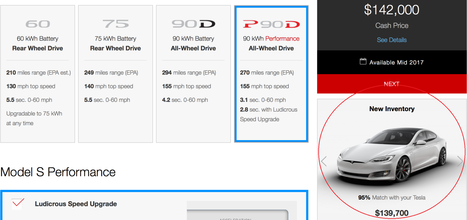 Tesla now suggests similarly spec'd inventory cars when ...