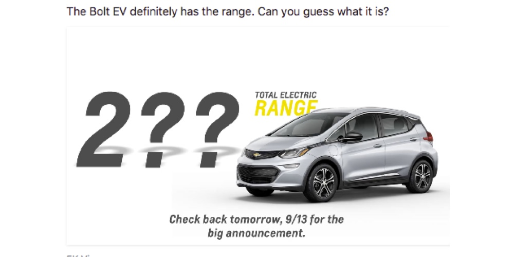 chevrolet to announce bolt u0026 39 s official ev range tomorrow  teaser on facebook today  poll