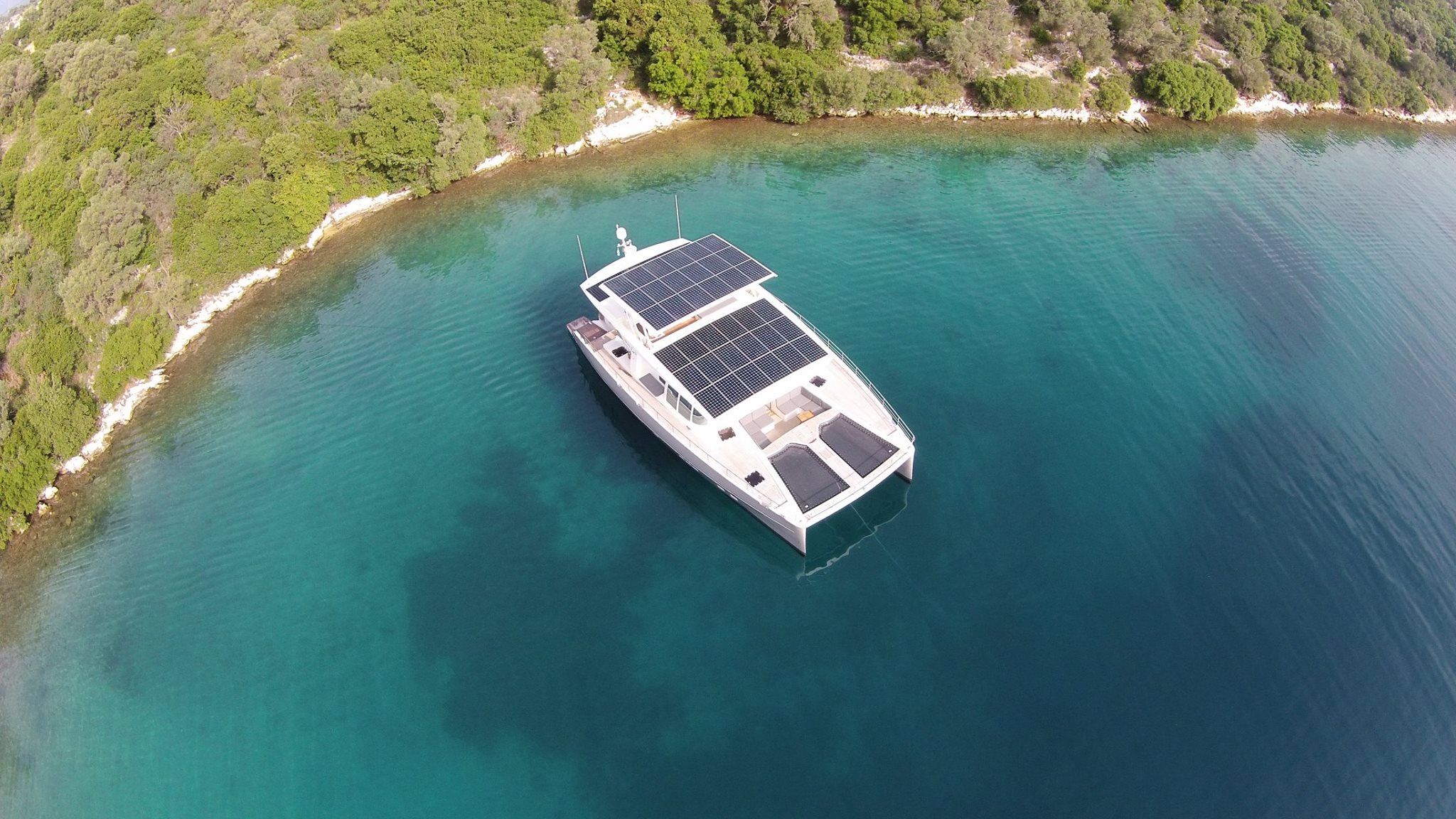 A new solar and battery-powered catamaran with a virtually