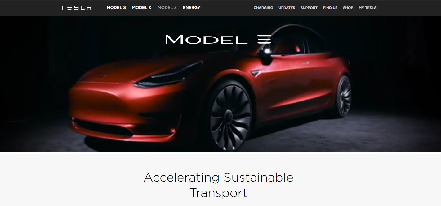 Tesla Changes The Branding Of Model 3 To Remove Lines Logo On Its Website