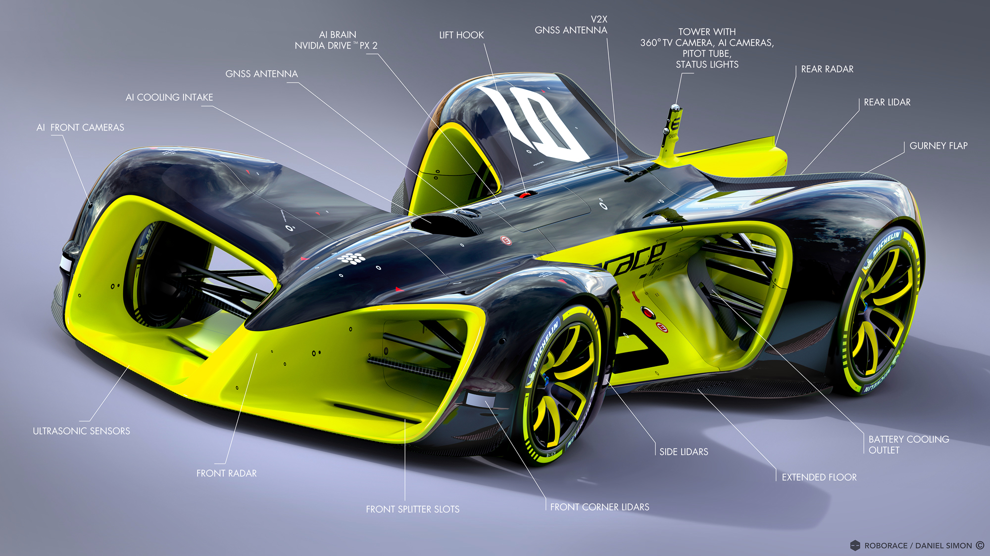 Robocar. Image by Chief Design Officer Daniel Simon / Roborace Ltd.