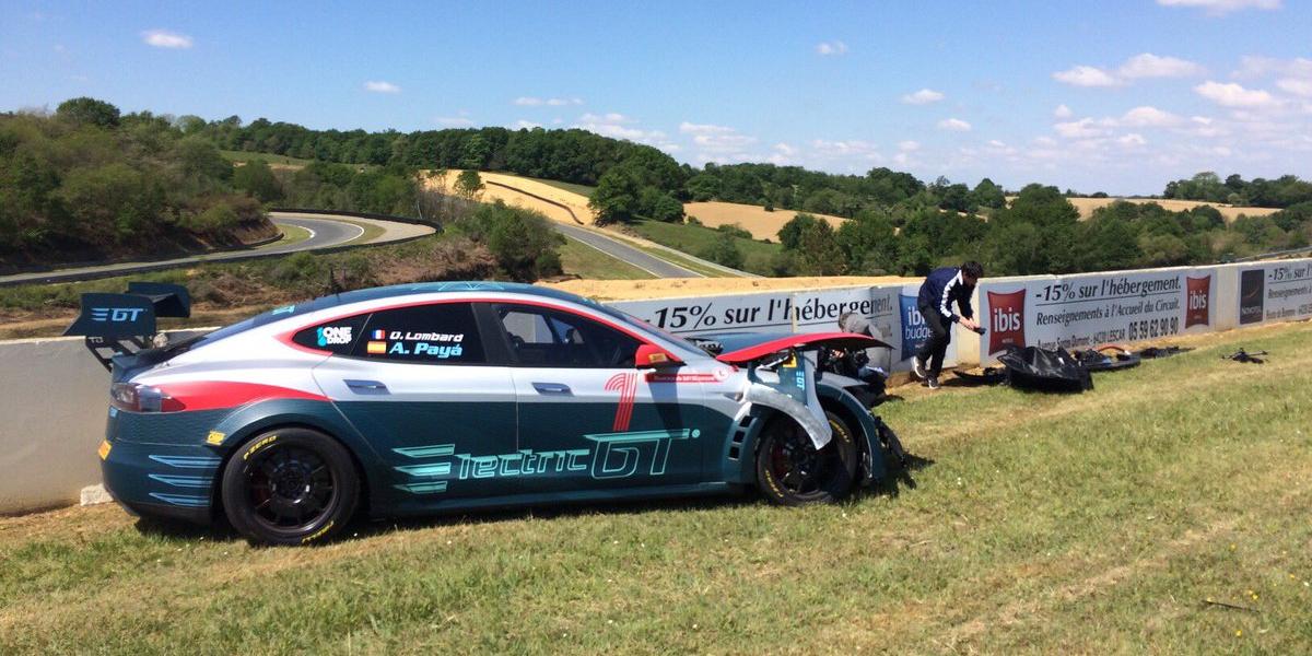 Electric Gt S Tesla Model S Race Car Crashed During