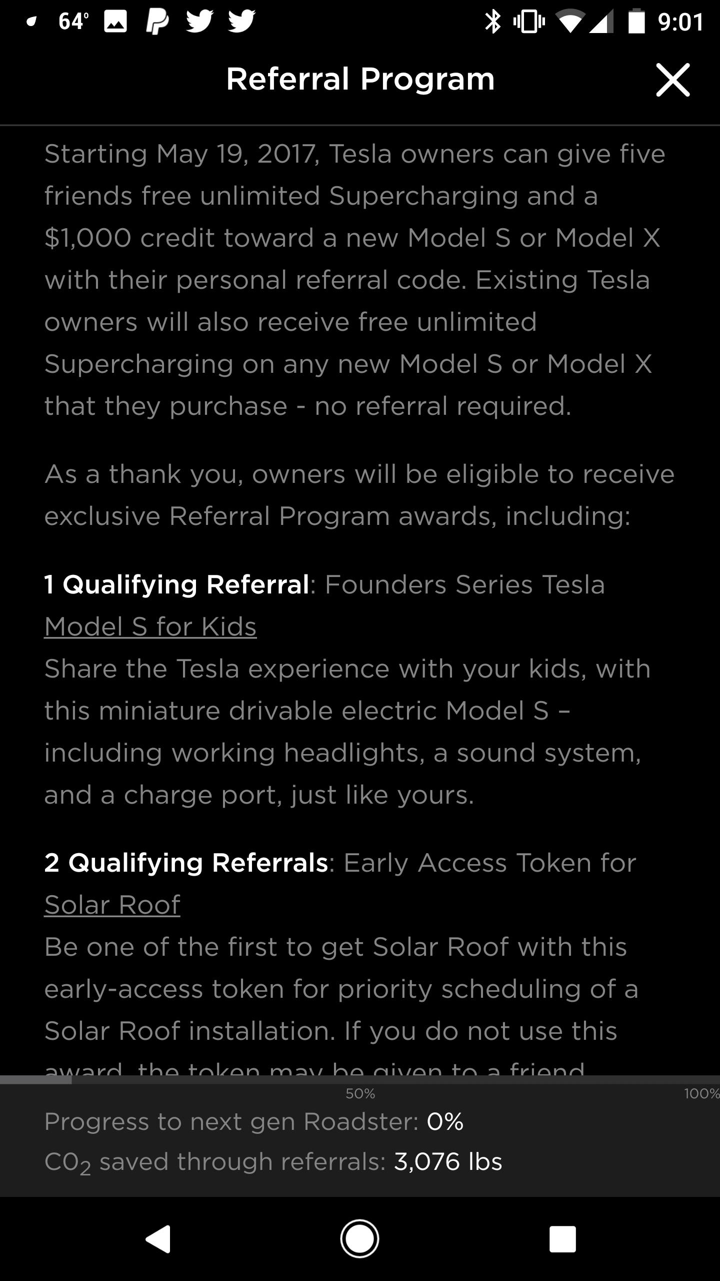 Tesla Next Gen Roadster 10% discount appears in referral program