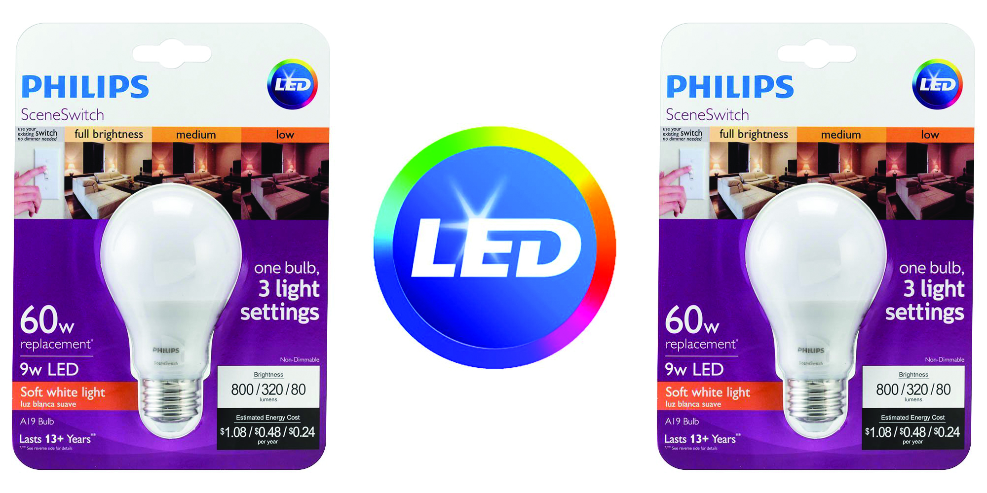 Green Deals 4 Pack Philips Sceneswitch Led Lights Bulbs