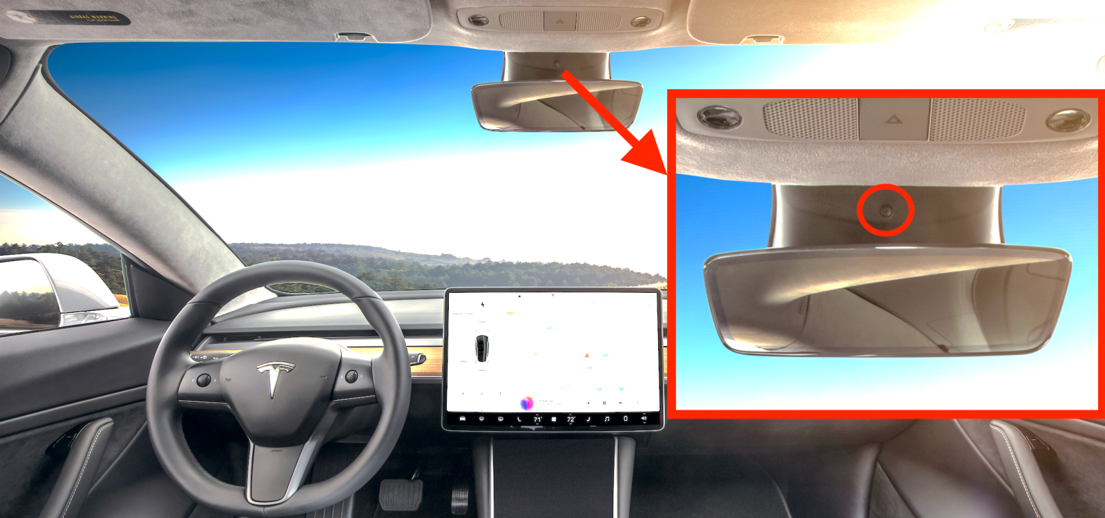 Tesla Model 3 is equipped with a driver-facing camera for Autopilot and Tesla Network