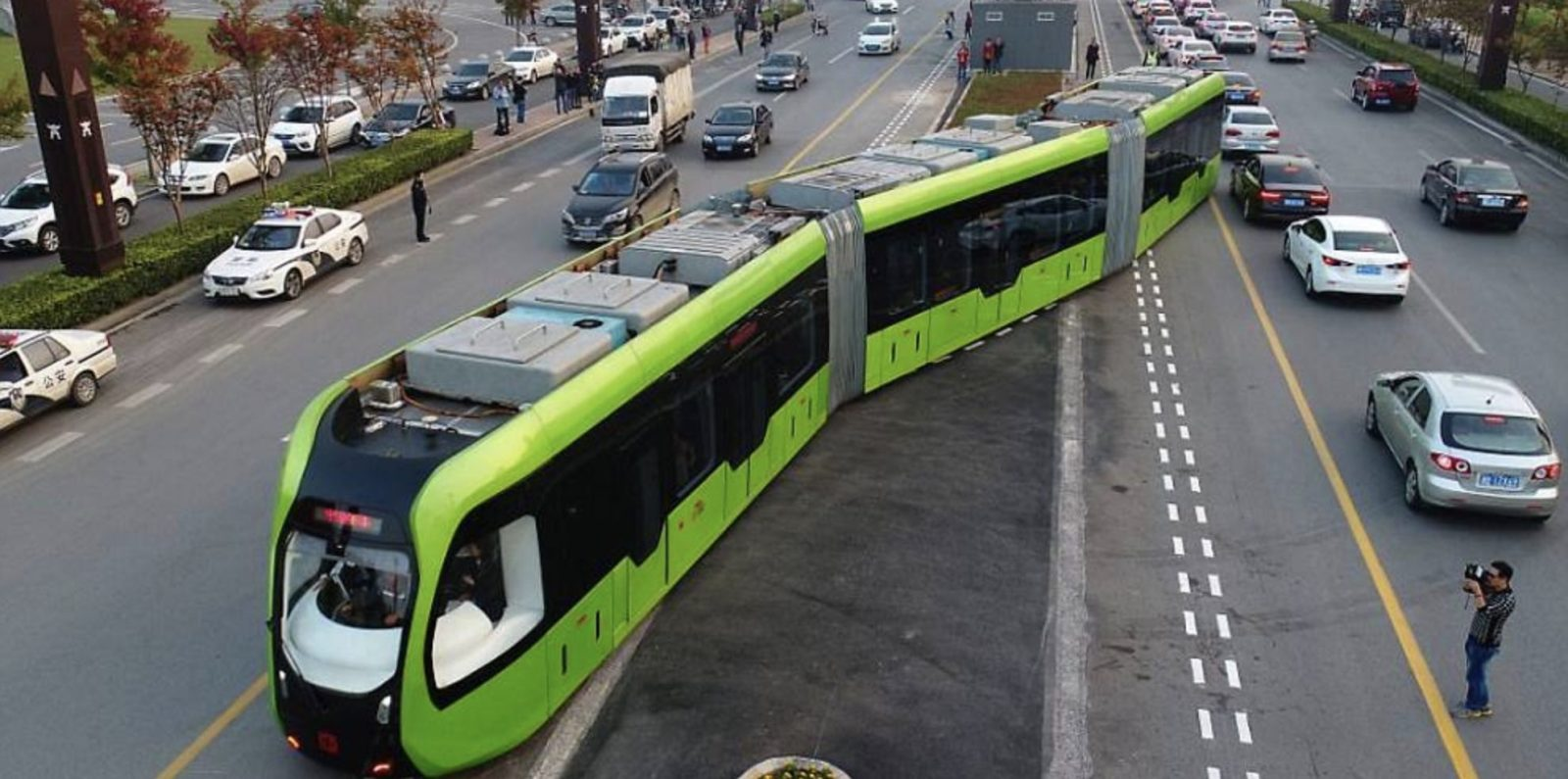 A New Trackless Electric Train Aka A Bus Starts