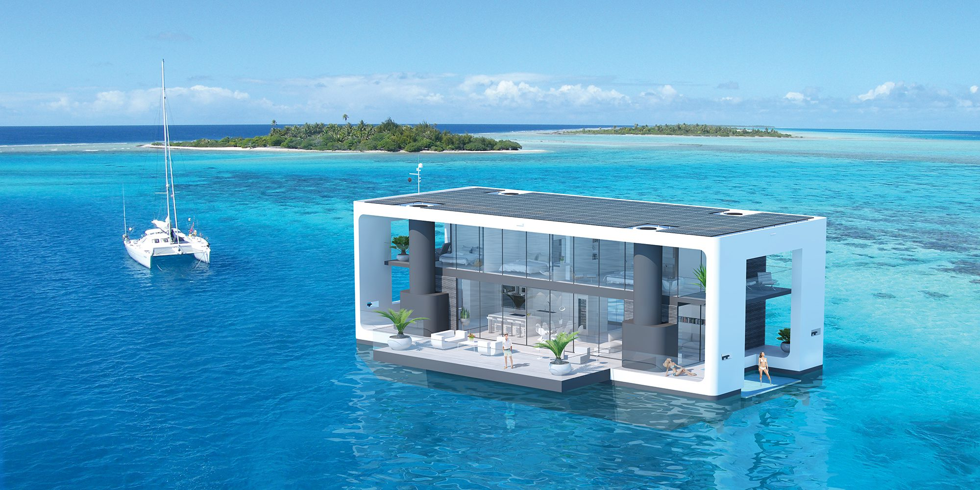Solar And Battery Technology Power A Novel Hurricane Resistant Floating  Electric House Boat