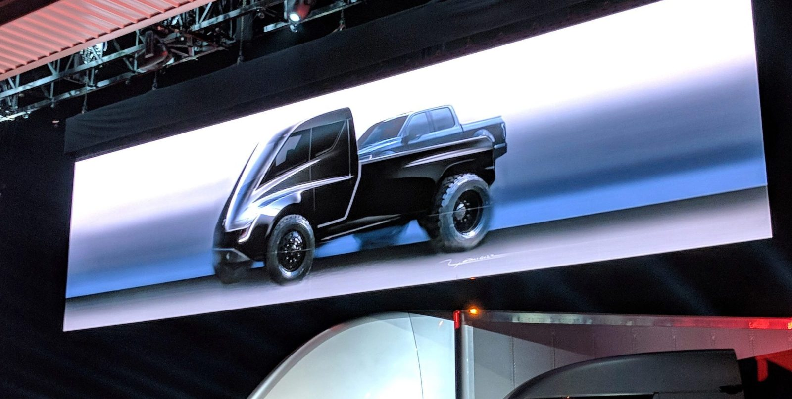 Tesla Unveils First Image Of Its Electric Pickup Truck And It Almost Sounds Like A Joke