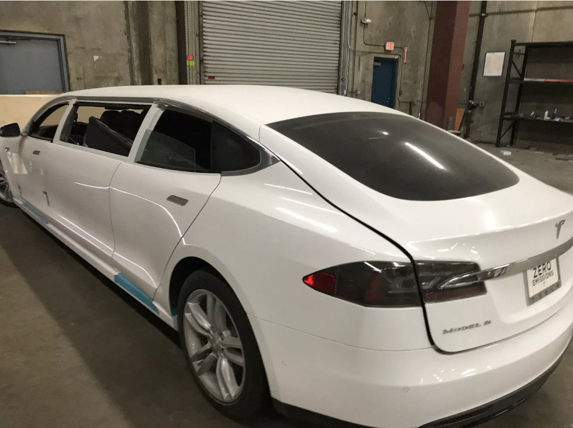 A Tesla Model S Stretch Limousine Goes Up For Auction Update Might Wire Harness Here Are The Pictures Of Rare Electric Vehicle