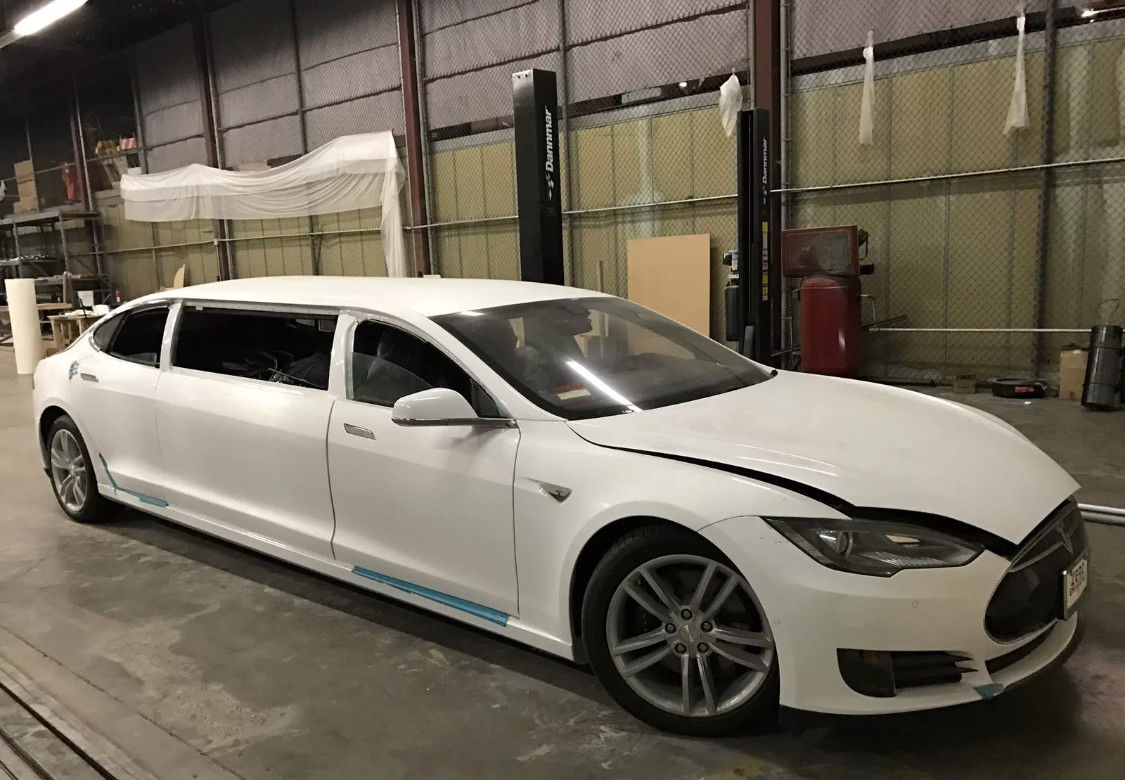 A Tesla Model S Stretch Limousine Goes Up For Auction Update Might Scama Engine Wiring Harness Here Are The Pictures Of Rare Electric Vehicle