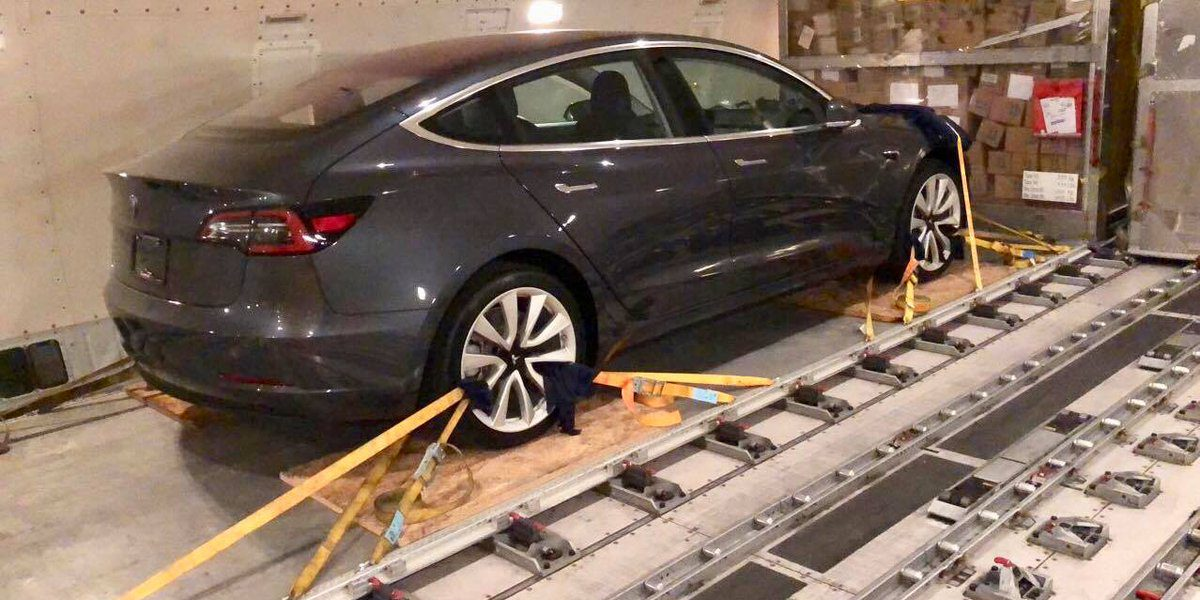 Tesla Model 3 vehicles spotted on their way to Germany, presumably to be reverse-engineered