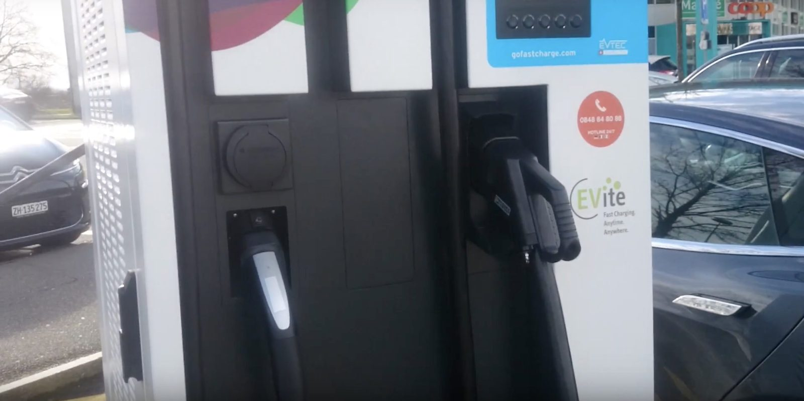 First Tesla Connector Added To A Public Fast Charging