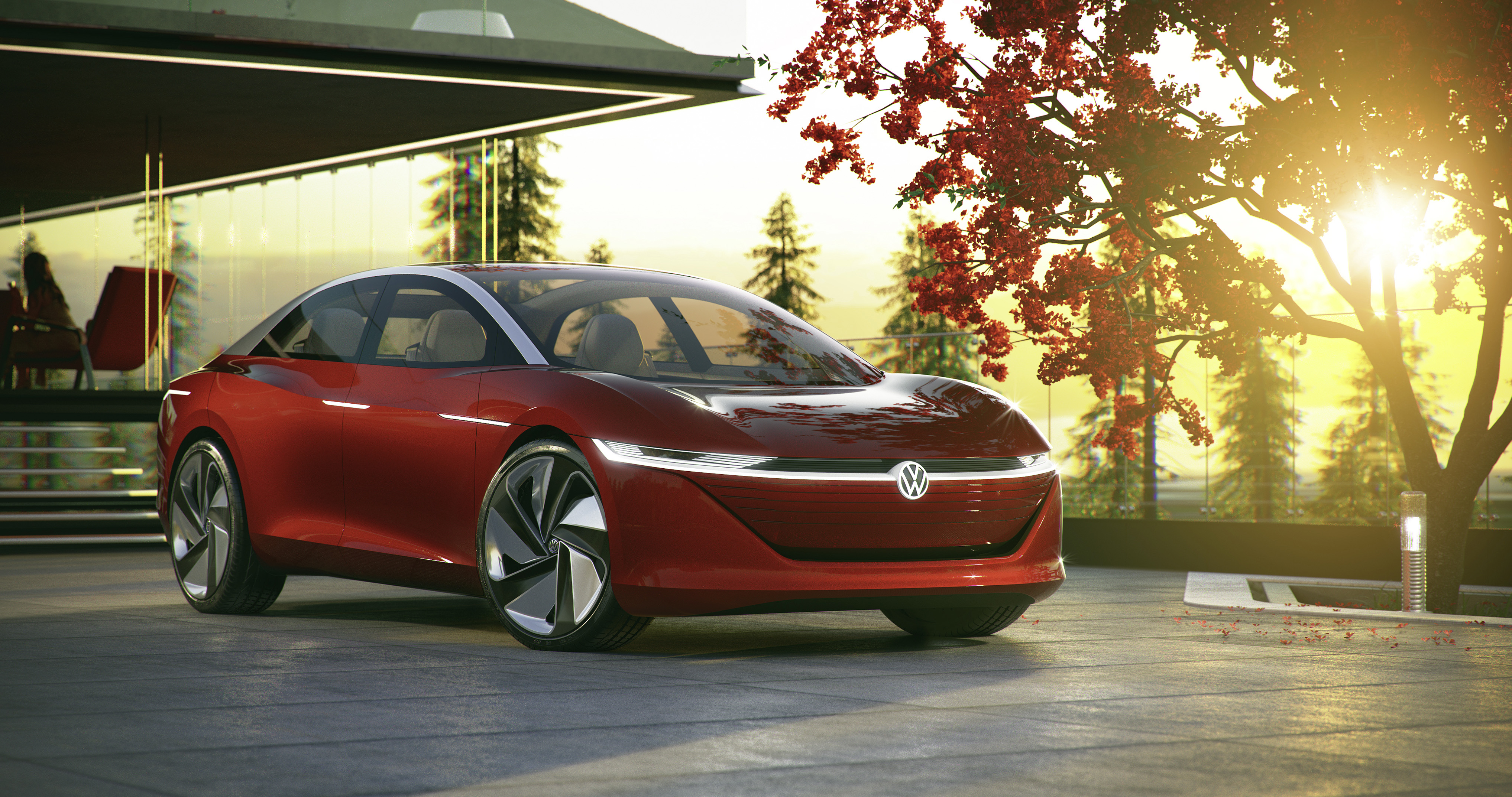 Vw Unveils New Id Electric Sedan 111 Kwh Battery Pack Self Driving Volkswagen Panel Van Red Motor World German Says That The Vehicle Is Equipped With A Dual Powertrain Total Output Of 225 Kw