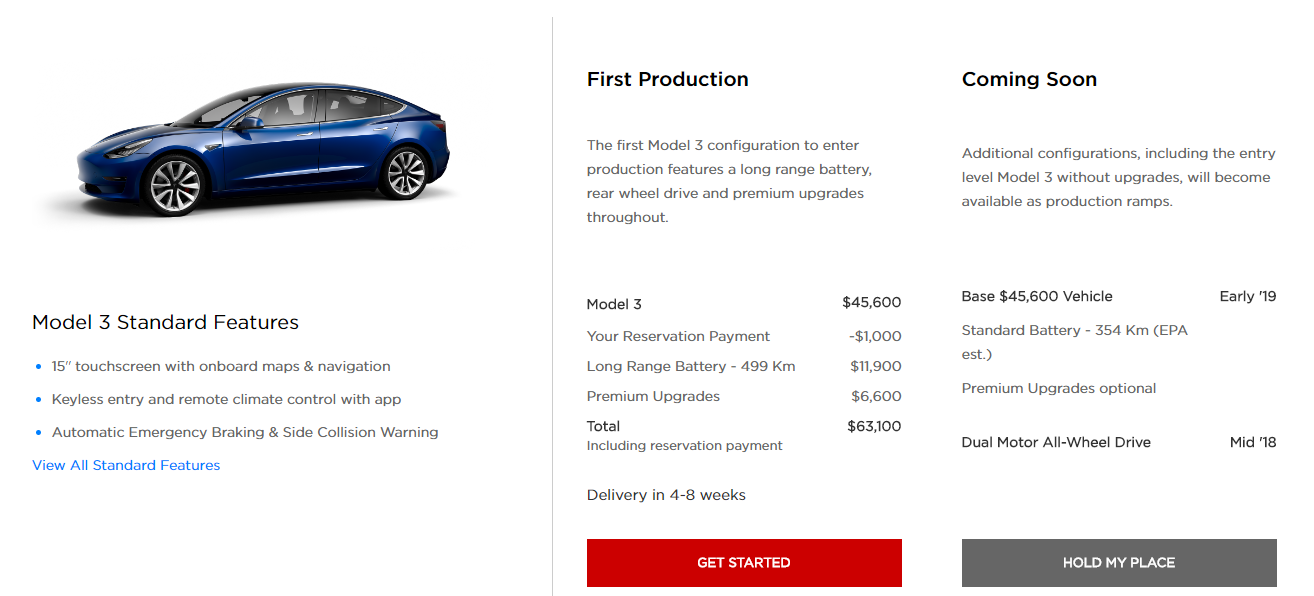Tesla model 3 options and pricing