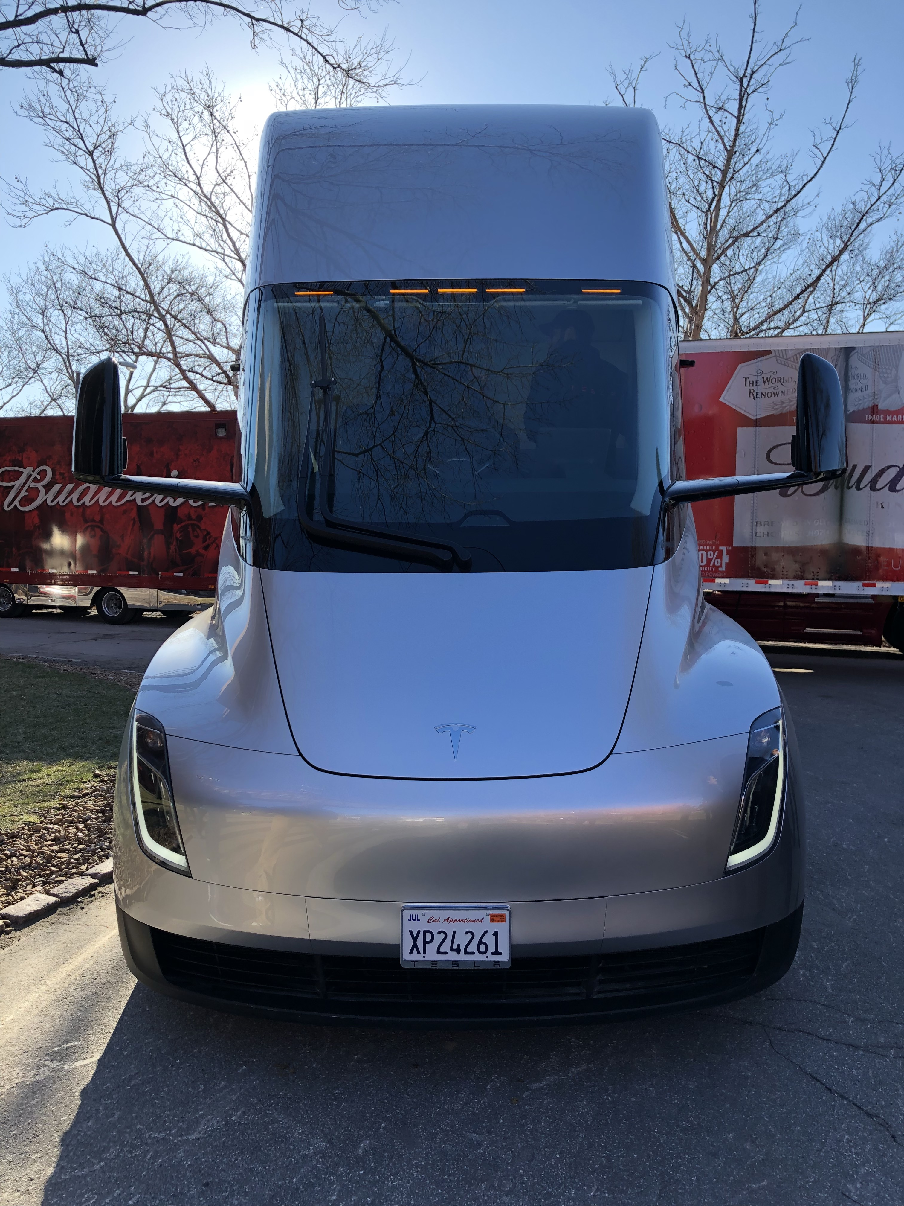 A closer look at a Tesla Semi electric truck prototype and