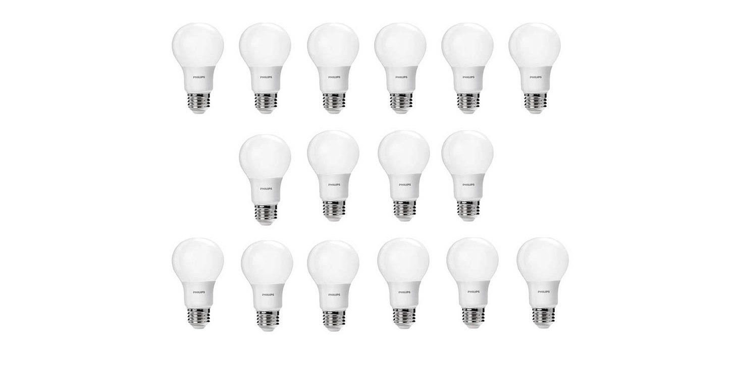 green deals 16 pack philips a19 60w led light bulbs 21 50 more