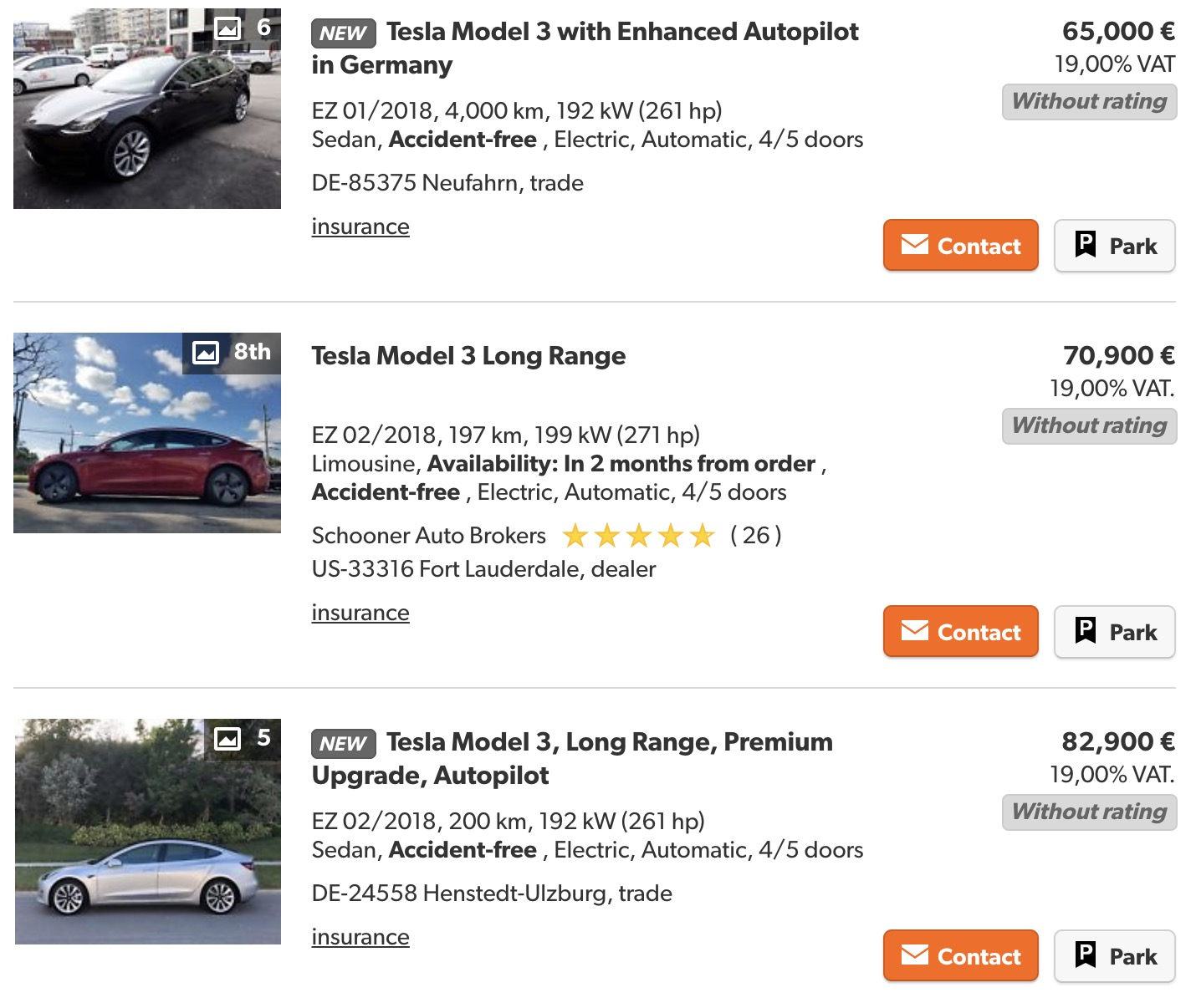efbc820a284888 Tesla Model 3 vehicles start showing up for sale in Europe on the gray  market