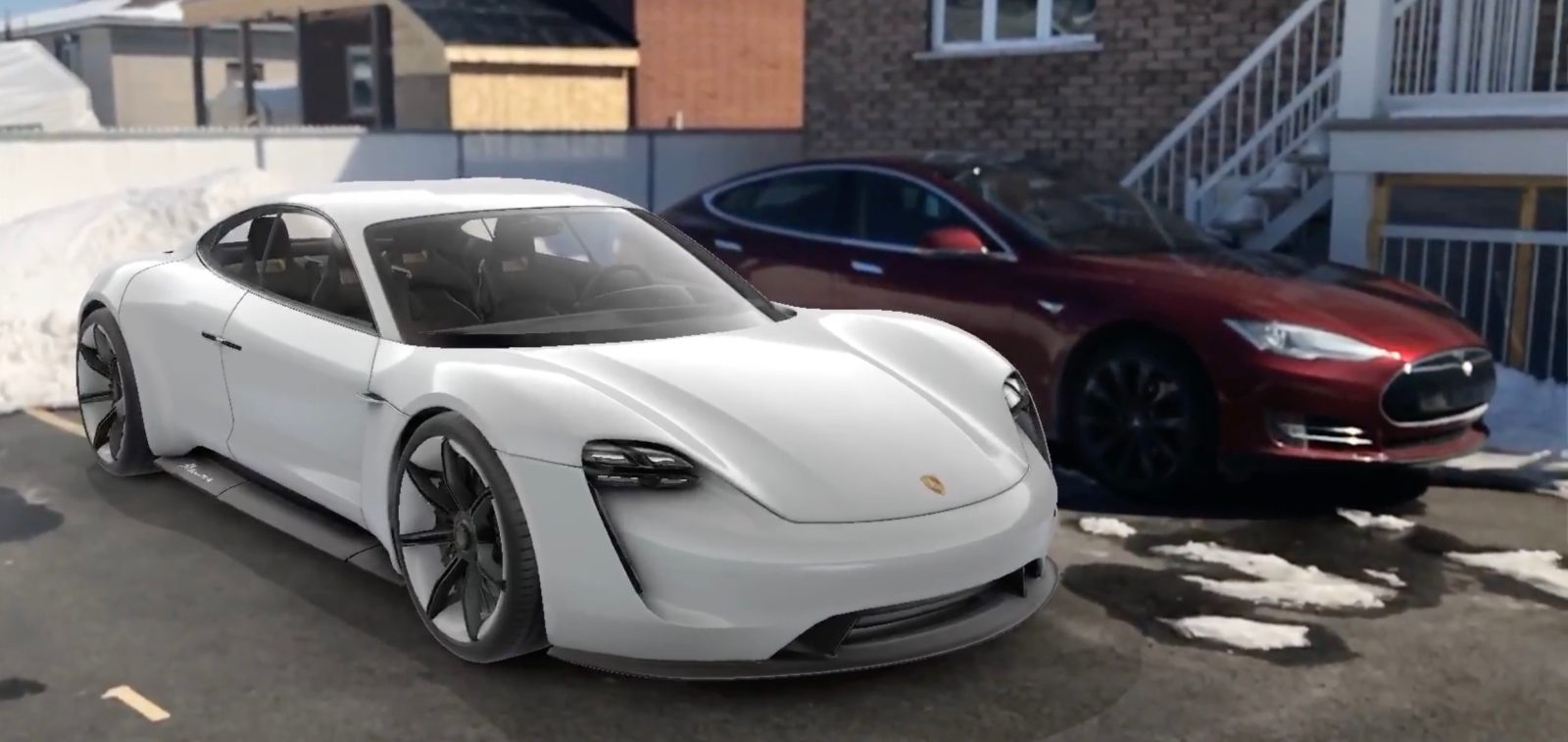 a closer look at porsche s all electric mission e next to tesla model s in augmented reality. Black Bedroom Furniture Sets. Home Design Ideas