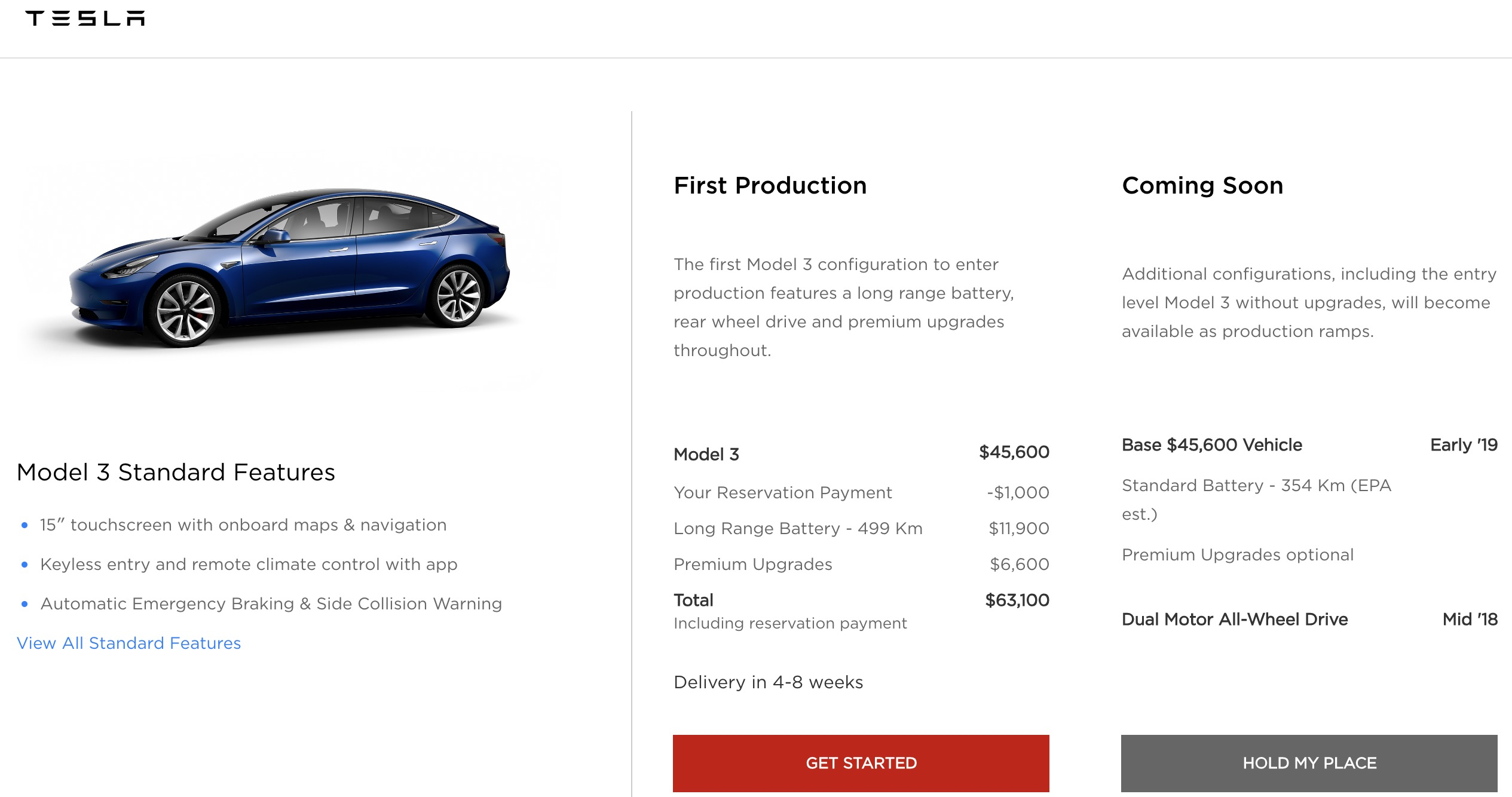 First look at Tesla Model 3 Canadian configurator with price