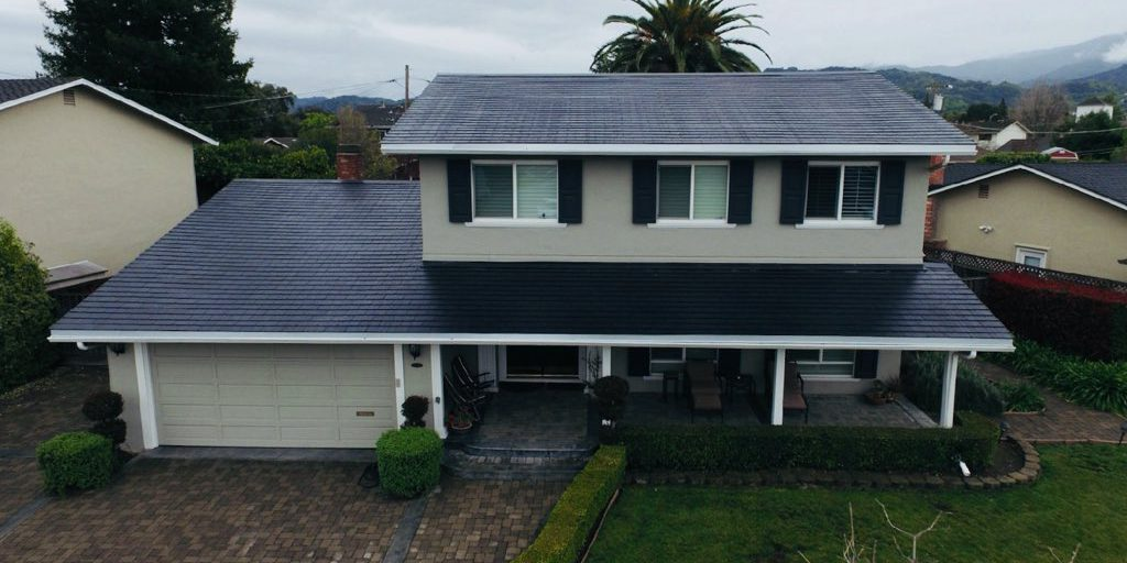 A look at latest Tesla solar roof tile installation