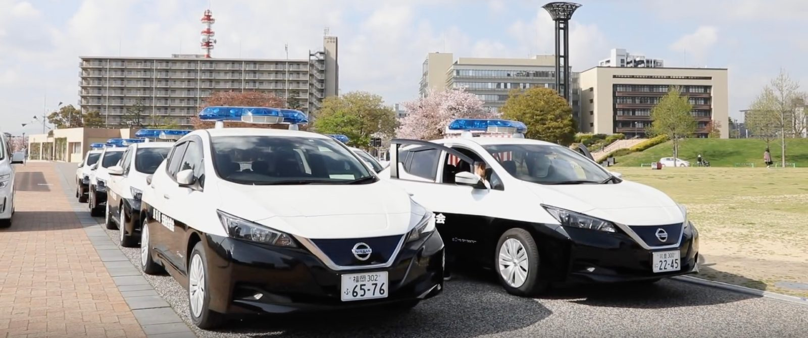 a fleet of new all-electric nissan leafs has been turned into police