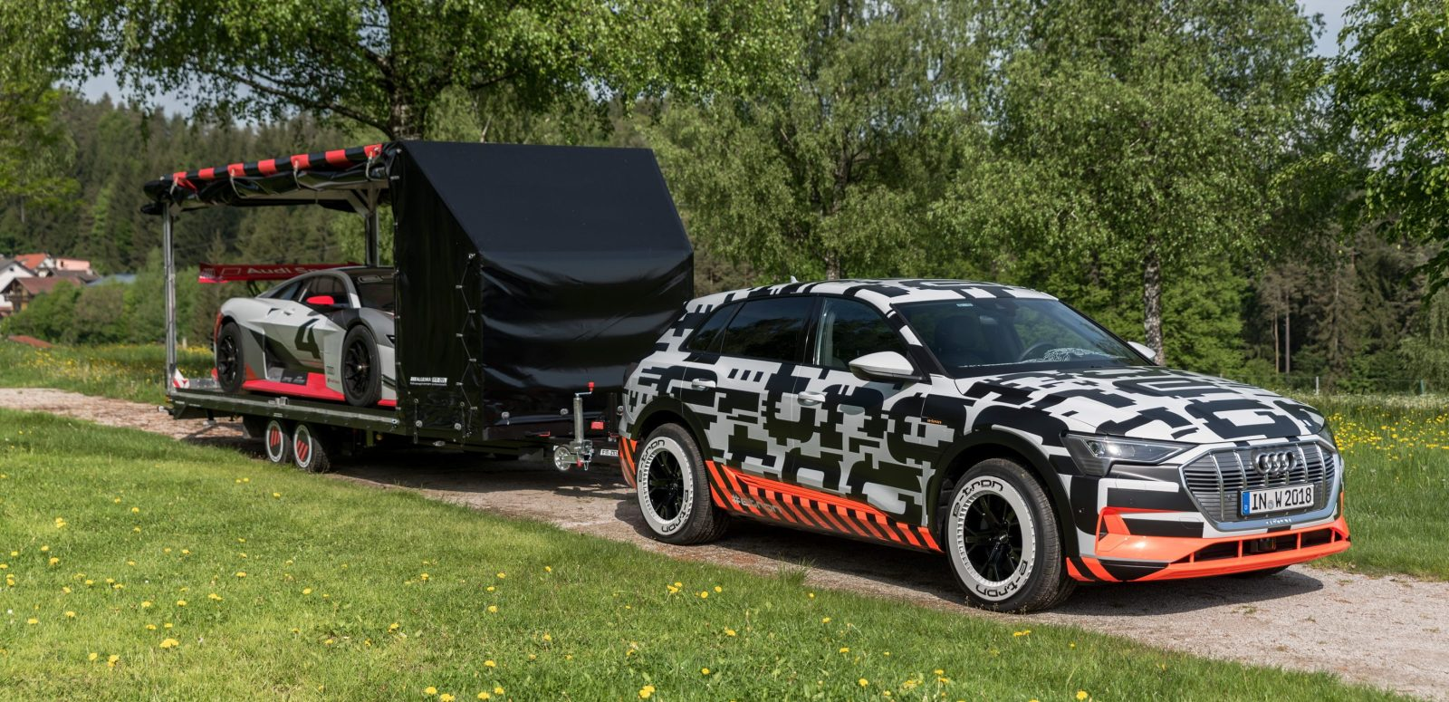 Audi Shows All Electric E Tron Quattro Suv S Towing Capability By