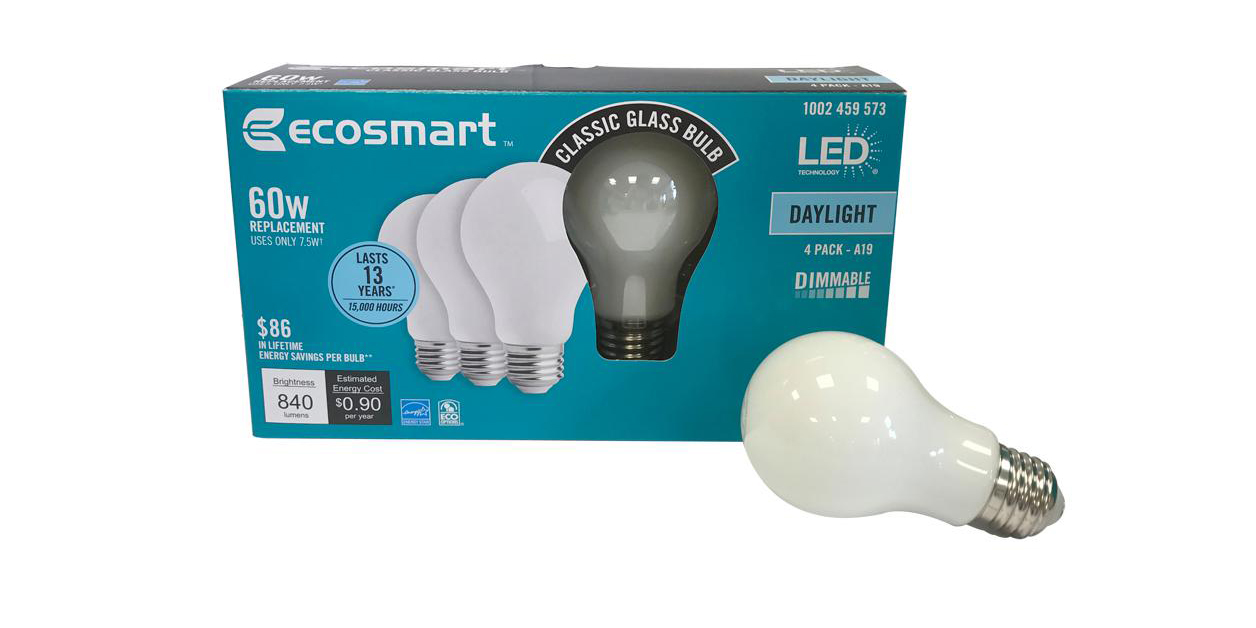 green deals 4 pack ecosmart 60w a19 dimmable led light bulbs 6