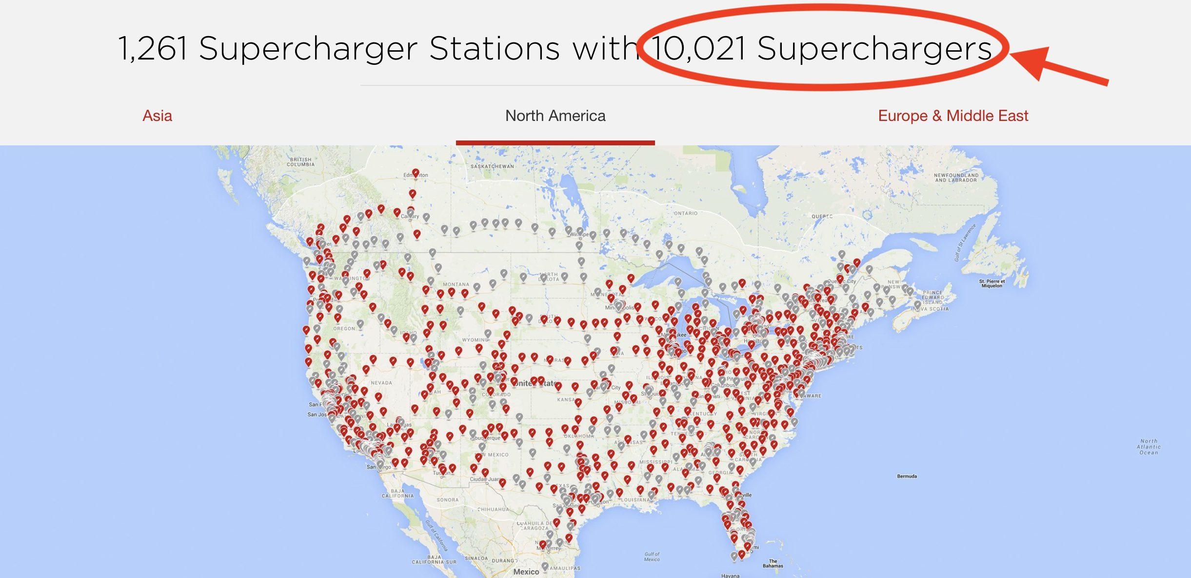 Tesla supercharger stations map