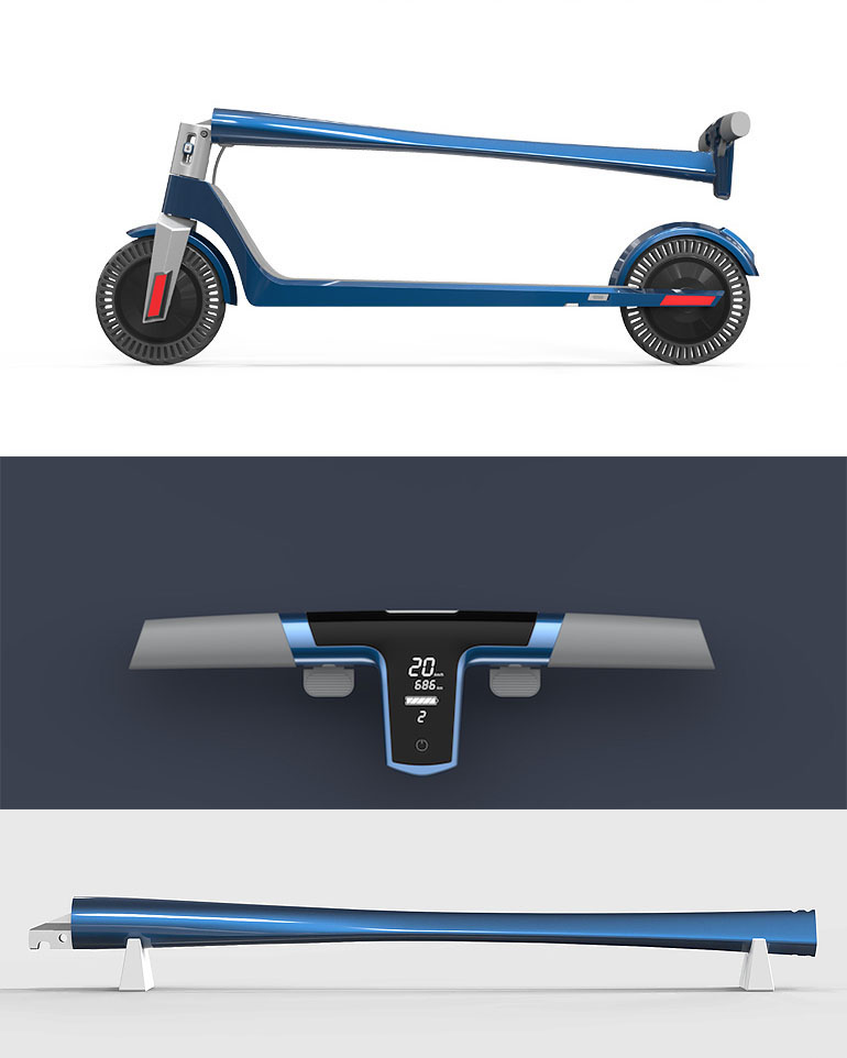 The new SWAN electric scooter uses dual hub motors and makes flat