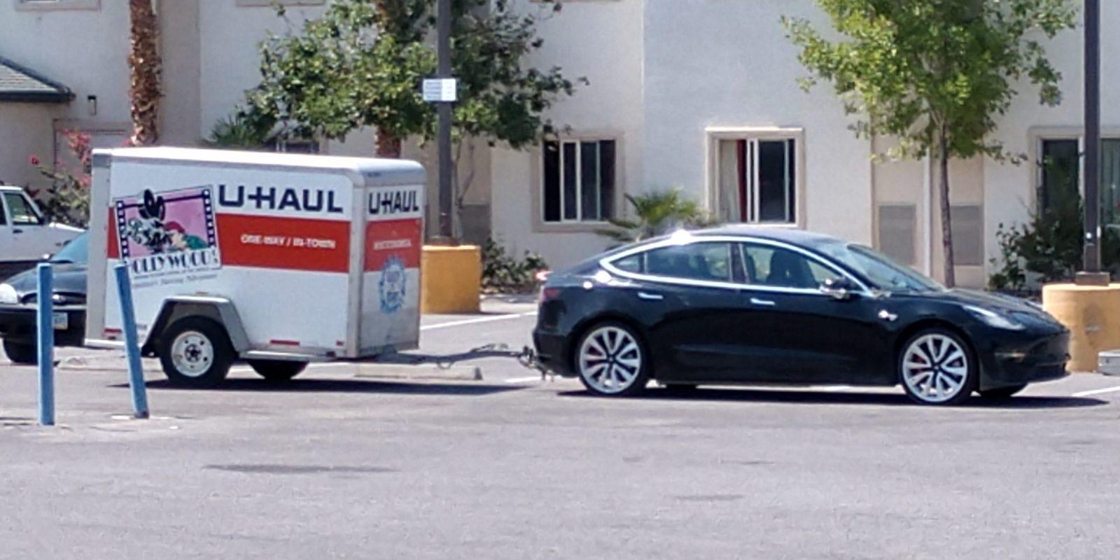 Tesla Model 3 spotted testing towing capacity - Electrek